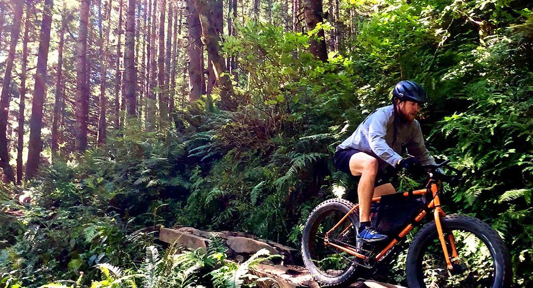 Mountain biker riding trails