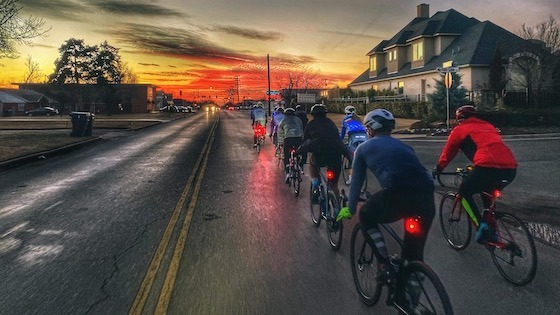 group ride at sunset