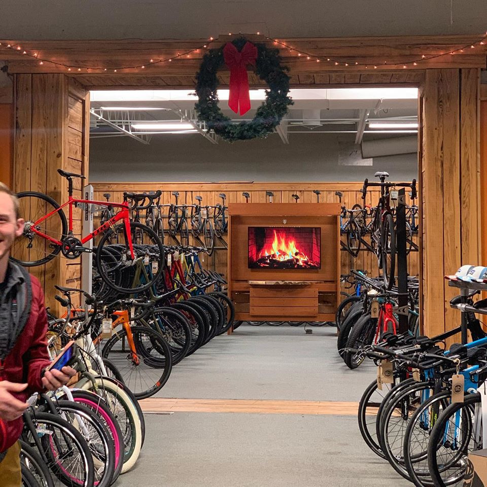 Syracuse Bicycles decorated for the holidays.