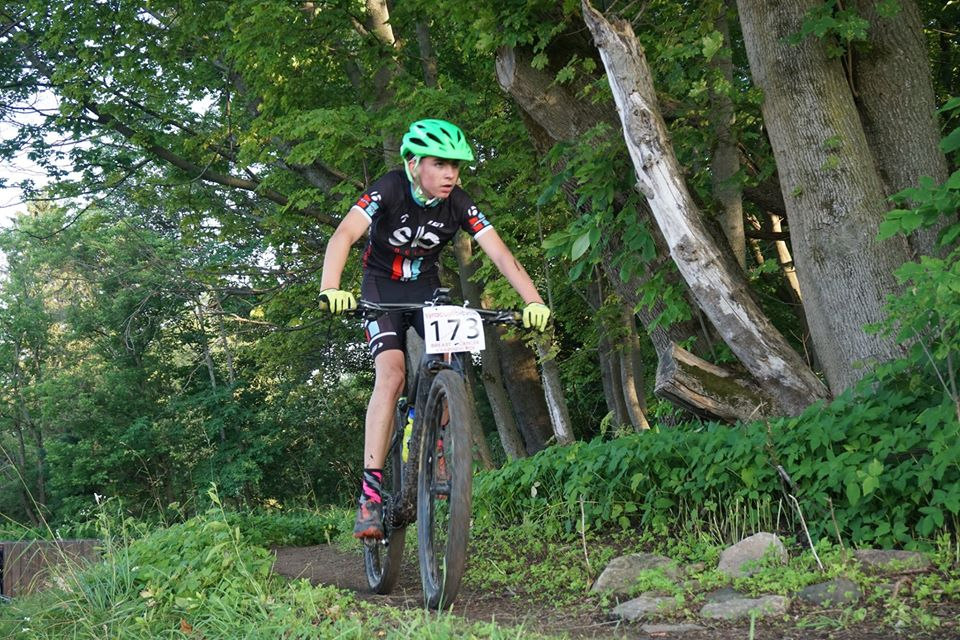 Mountain biker riding on the trail.