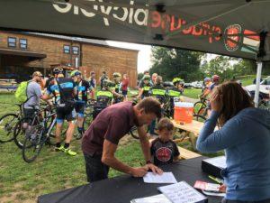 Cyclocross registration tent.