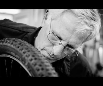 Tim Parker working on a wheel