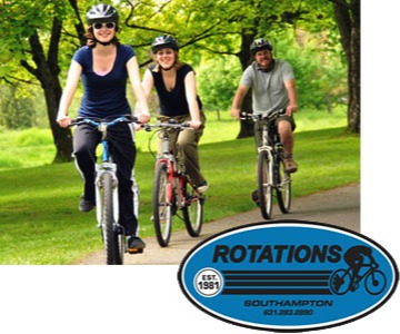 Rotations logo and three people riding bikes
