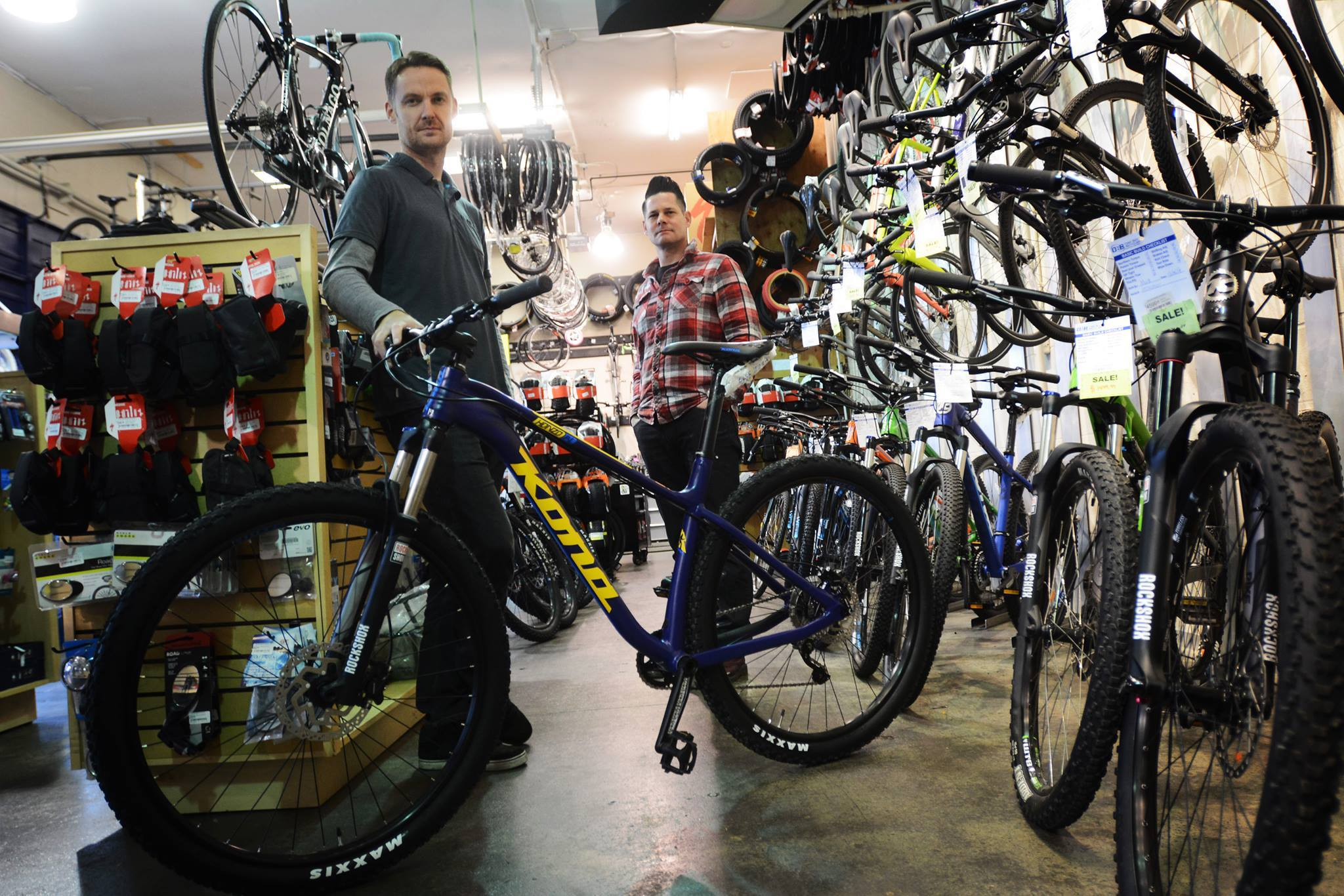 Staff in Rock City Cycles' showroom