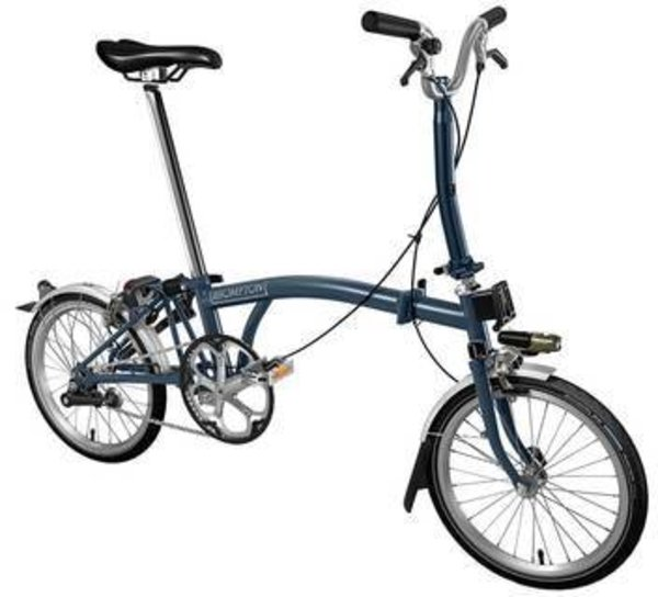 Brompton M3L Tempest Blue w/Marathon Tires and Battery Lighting