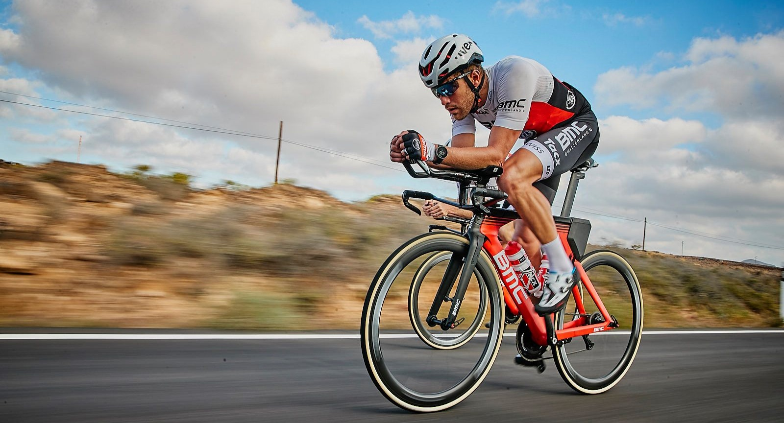 BMC's team rider Chris Leiferman rides in the Boulder Ironman