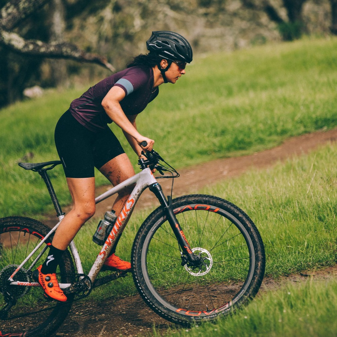 Woman riding an S-Works Epic Hardtail mountain bike
