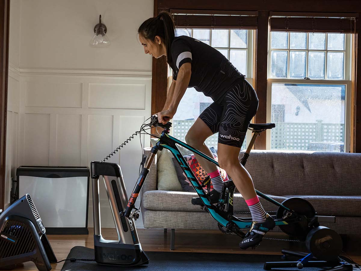 person riding an indoor trainer
