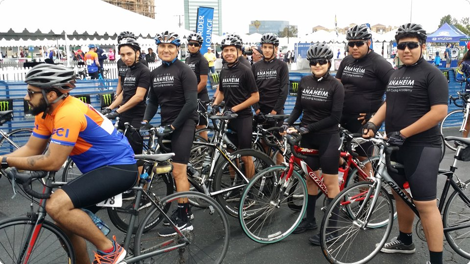 Cyclists lined up at the start of the Anti-Cancer challenge