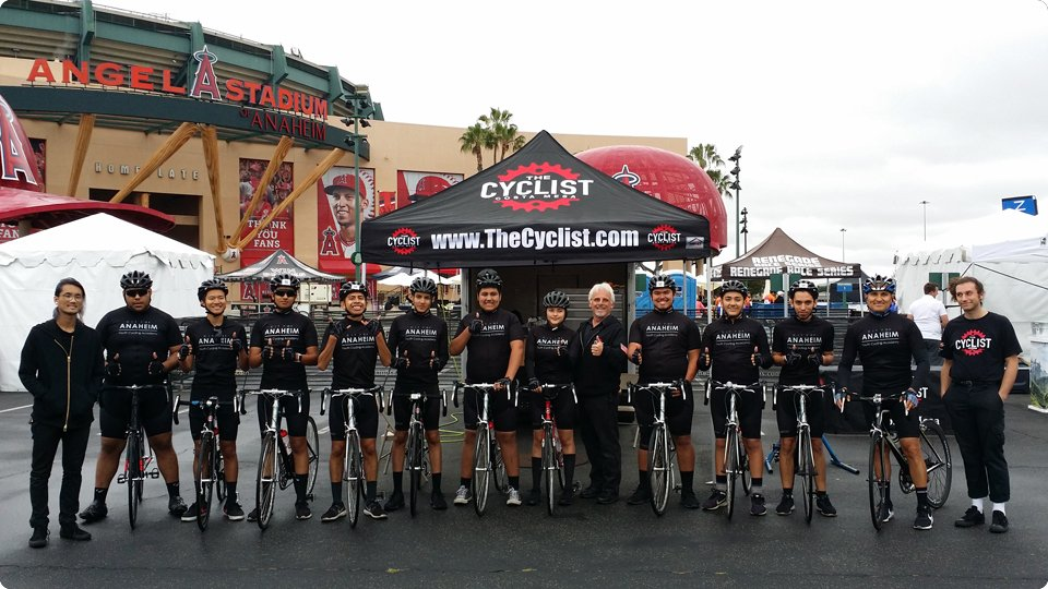 group photo of cyclists at angel stadium