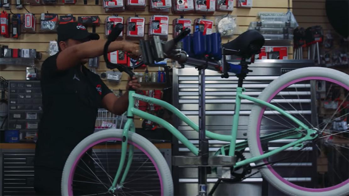 Mechanic Assembling Bike