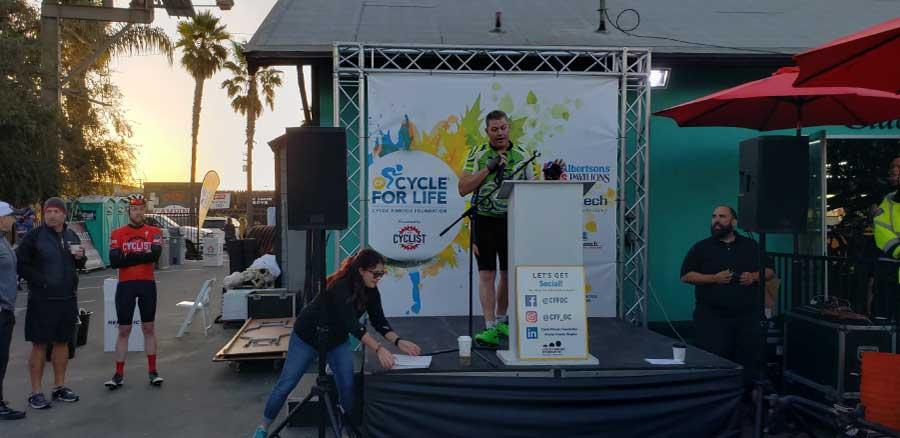 speaker at cycle for life charity event