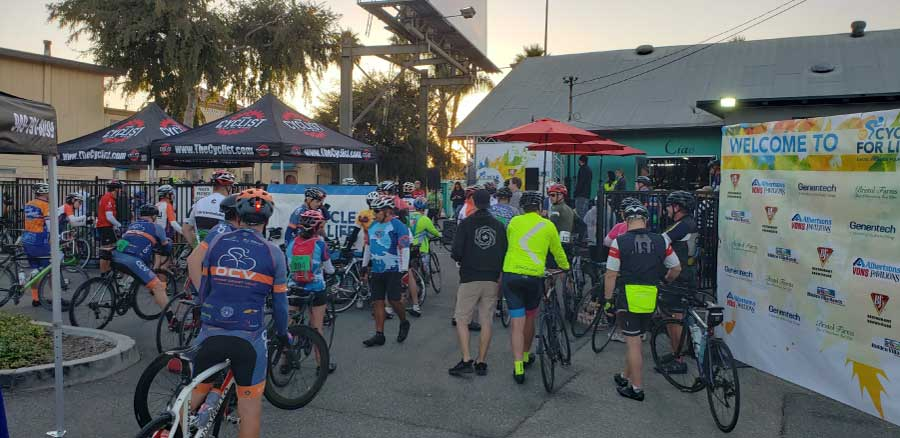 cyclists gathering at charity event