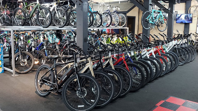 Row of Electric Bikes in Showroom