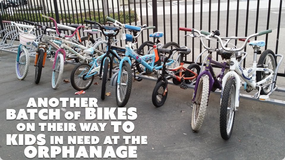 image of kids bikes in a bike rack