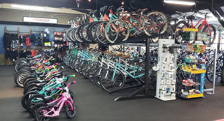 Row of Bikes in our Bike Shop