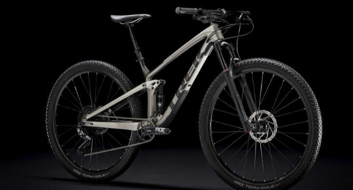 Studio photo of a Trek full-suspension mountain bike