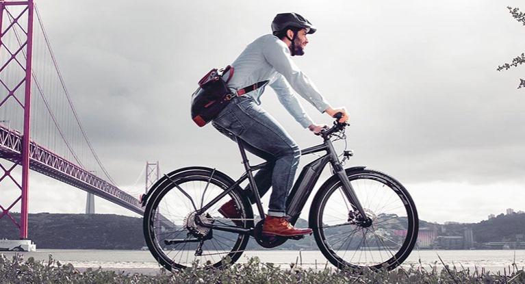 Cyclist riding an eBike