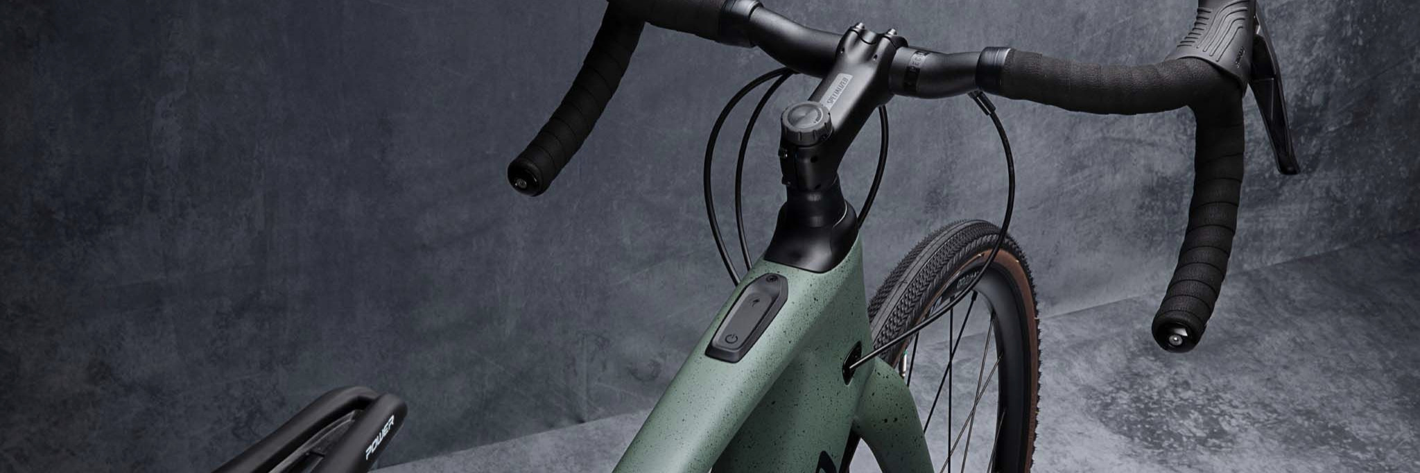 Overhead shot of a Specialized Creo Comp Carbon Evo Sage Green