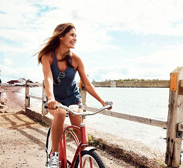 cycling on a bike path