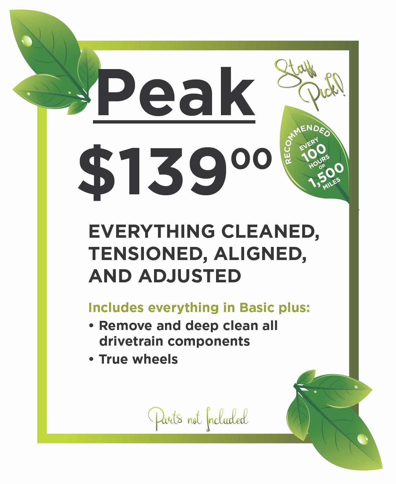 Peak Service package $139