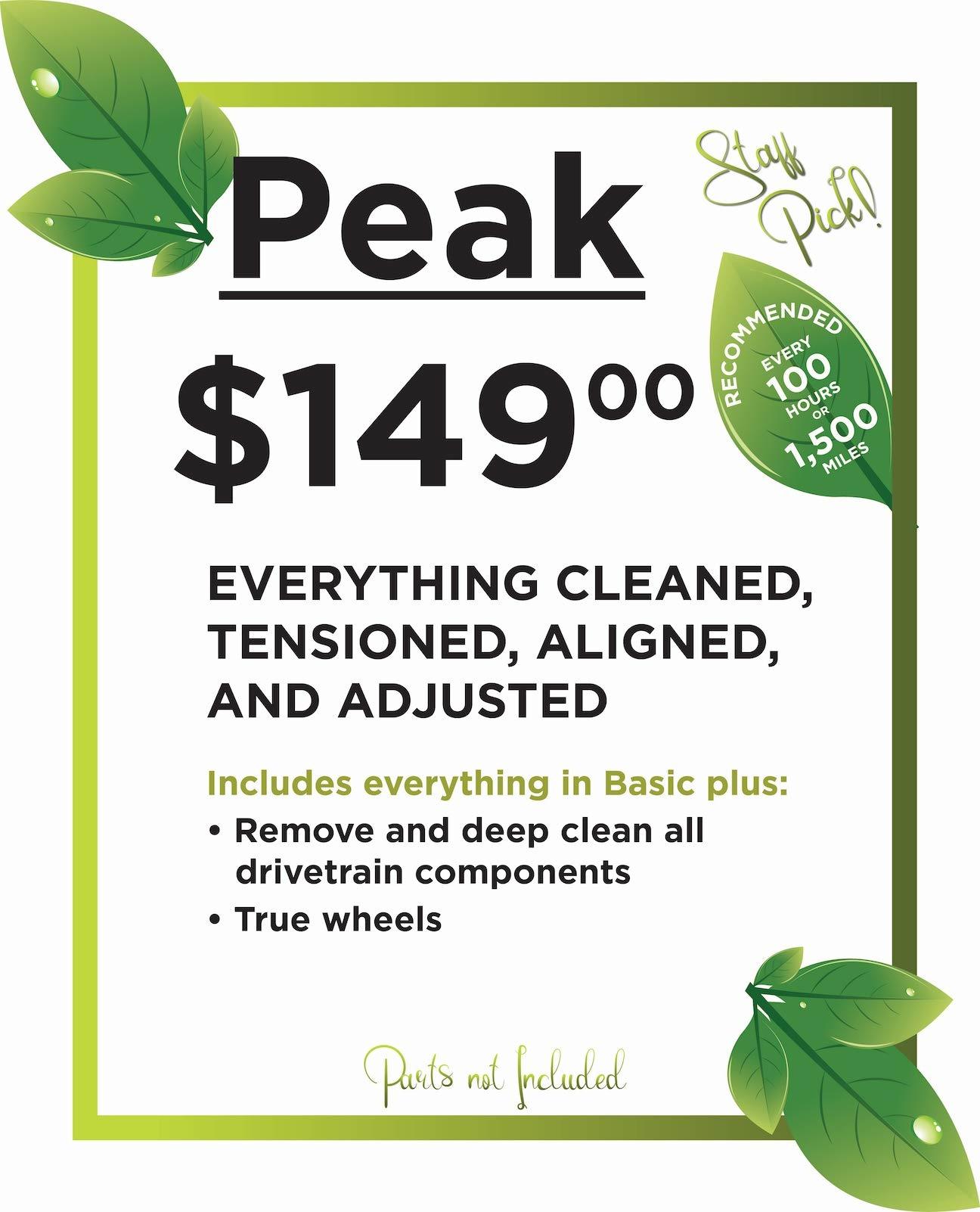 Peak Service package $149