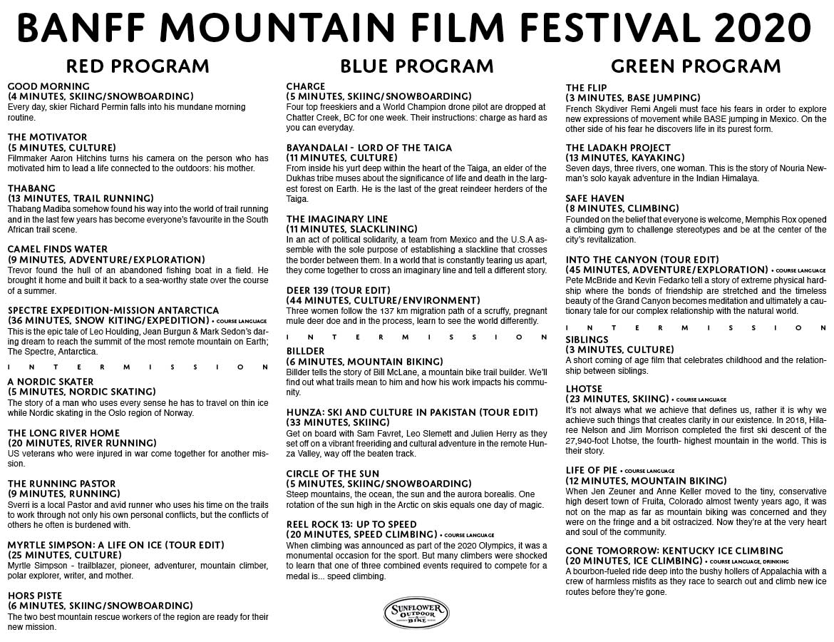 Picture of list of films