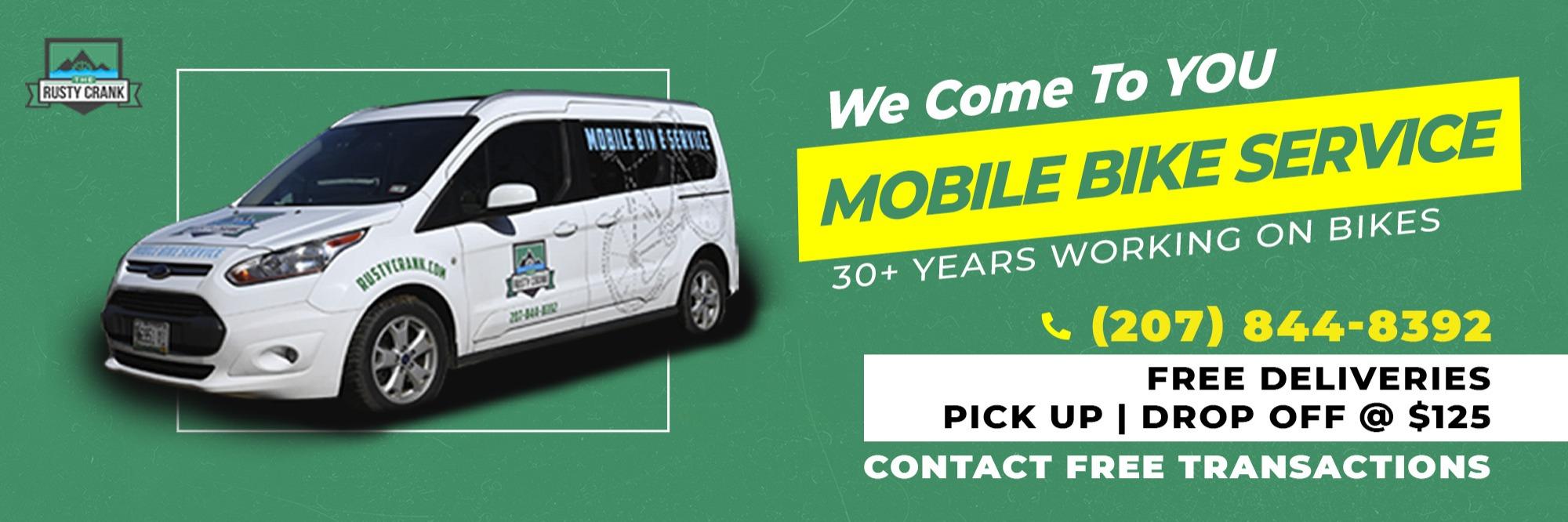 Mobile Bike Service - van - free deliveries, pick up or drop off at $125