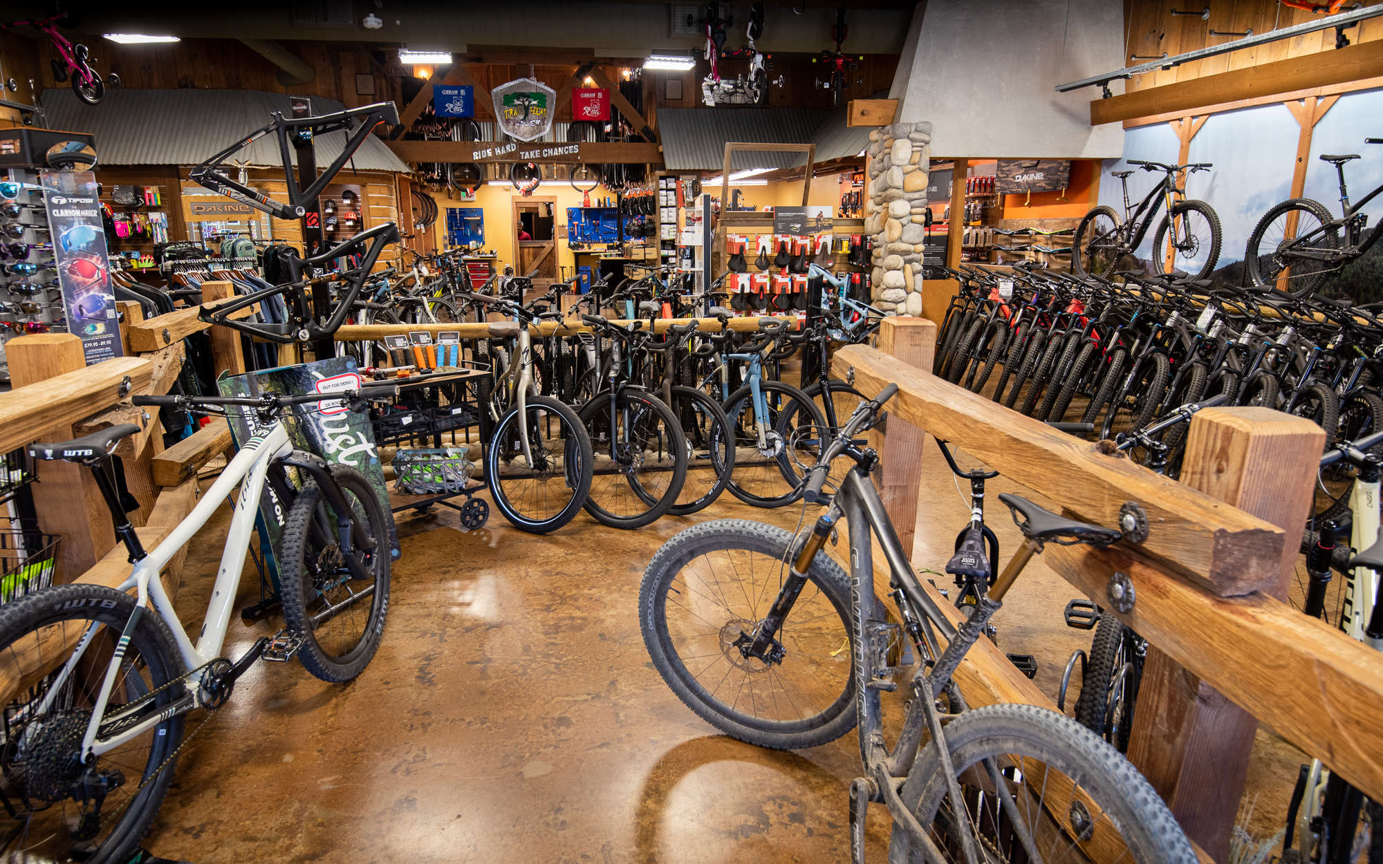 Interior of trail head cyclery with bikes
