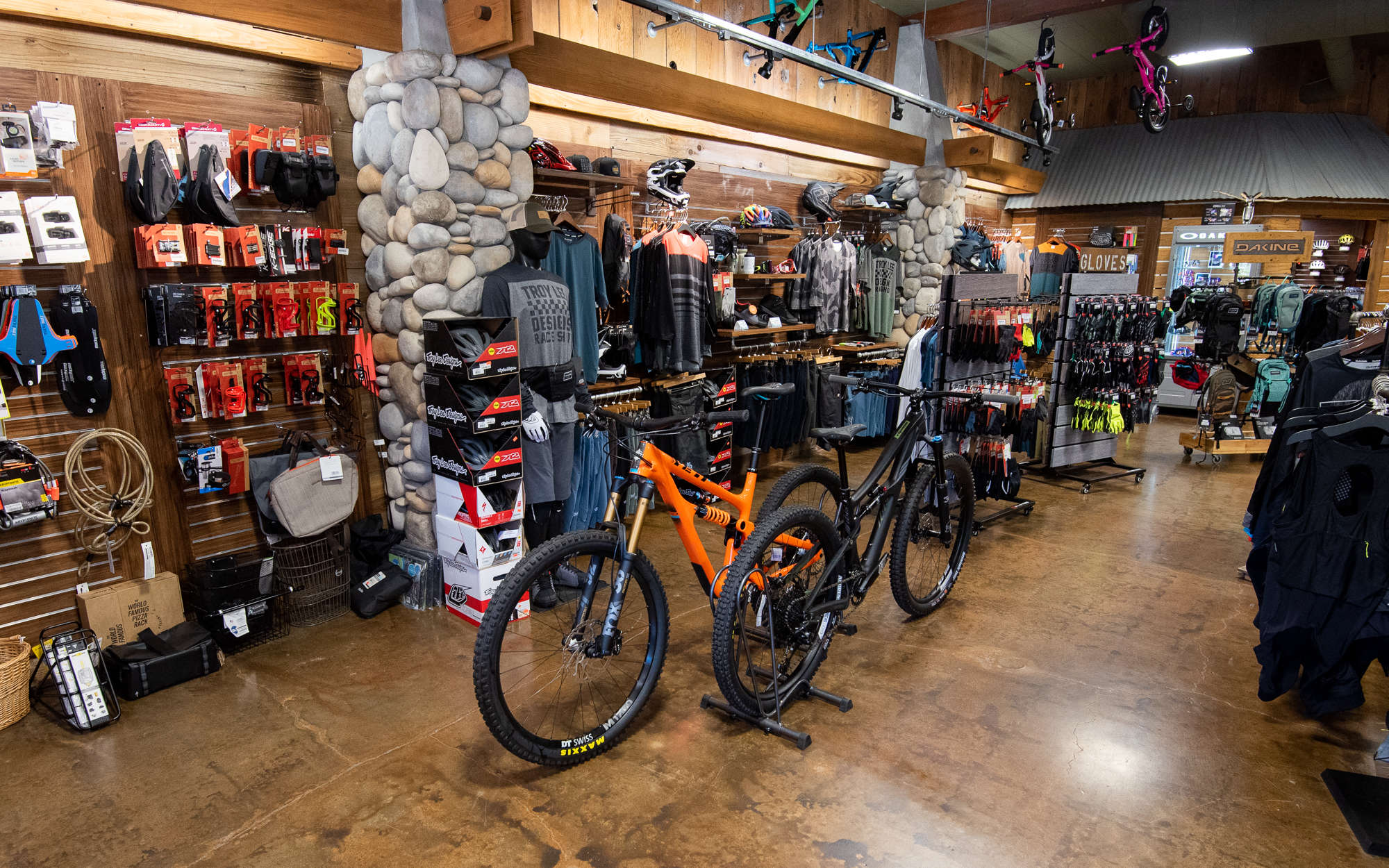 Inside of trail head cyclery with bikes and accesories