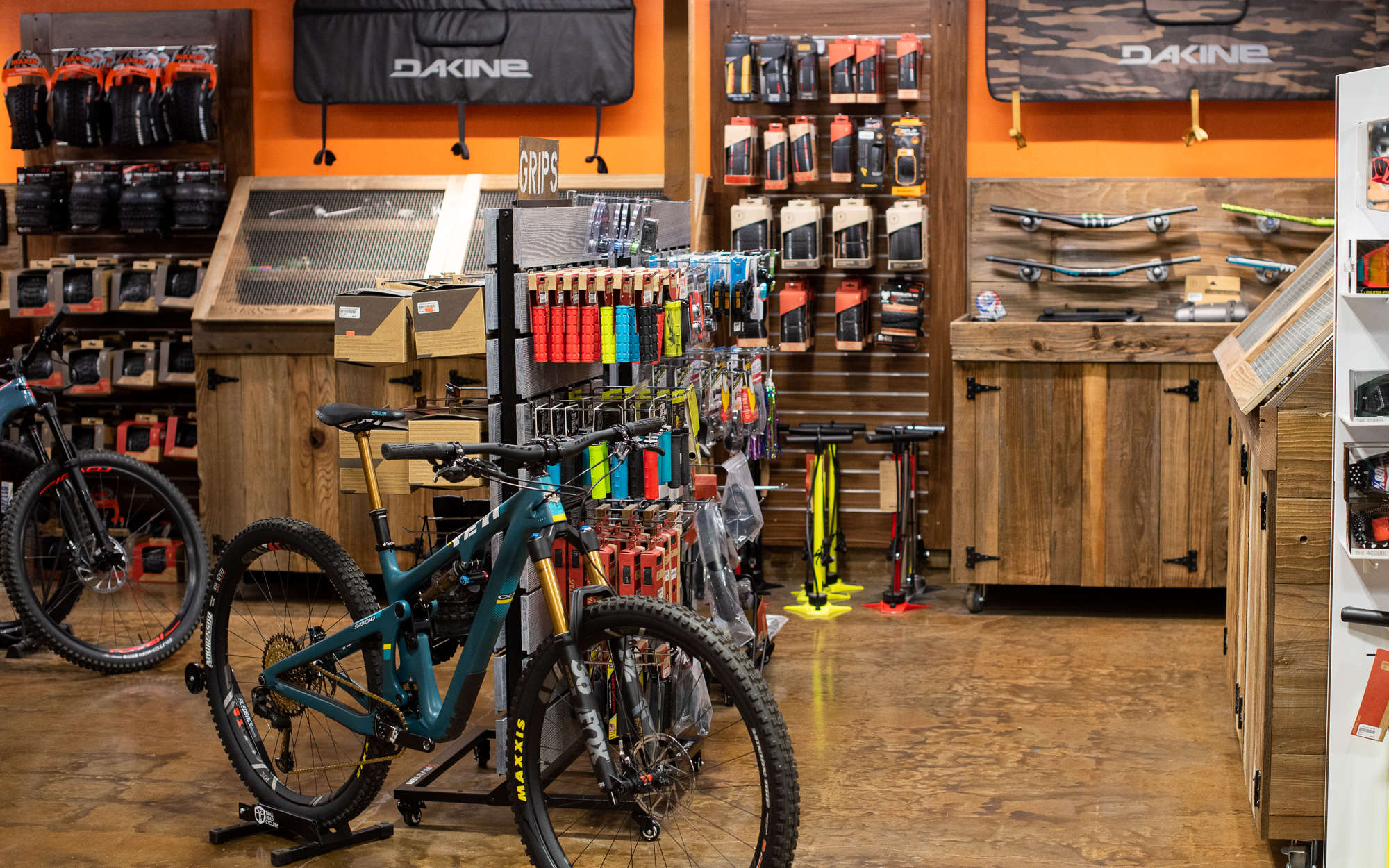 Inside of trail head cyclery with bikes and components