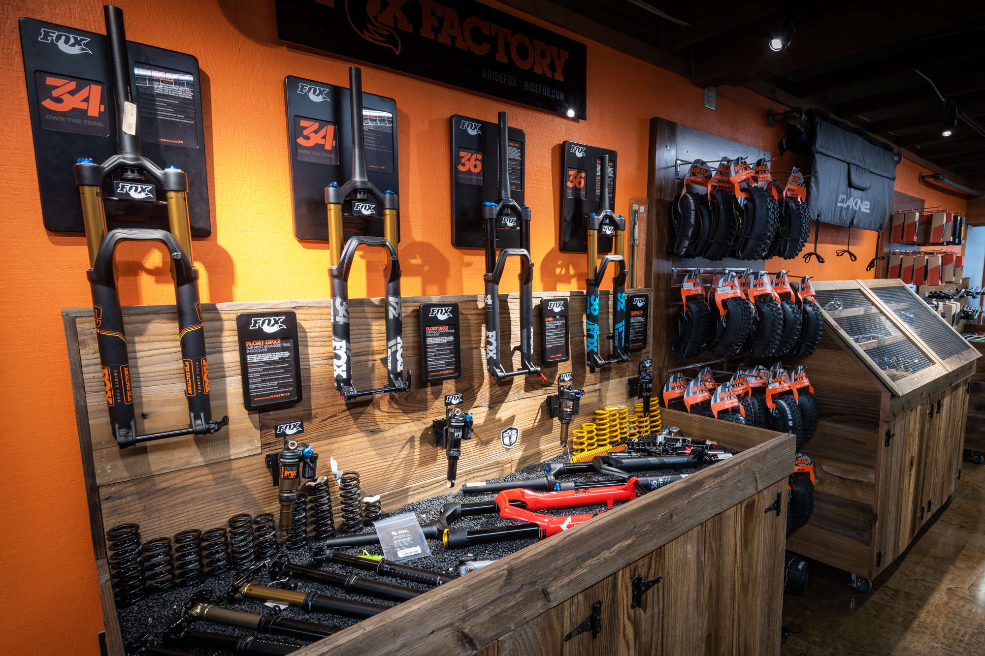 Inside of trail head cyclery with suspension components