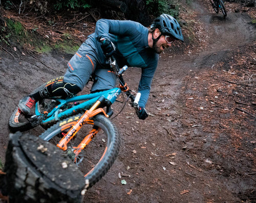 Shop Owner Lars Thomsen riding demo forest