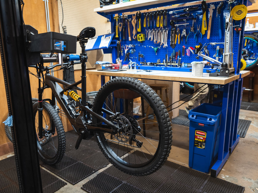 Inside of trail head cyclery bike service