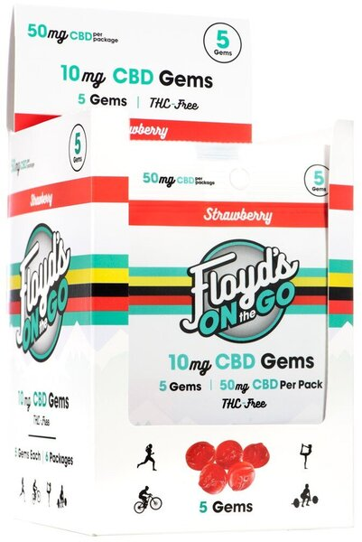 Floyd's of Leadville Isolate CBD Gems 10, 25mg, or 50mg / 1 count or 5 count - Various Flavors