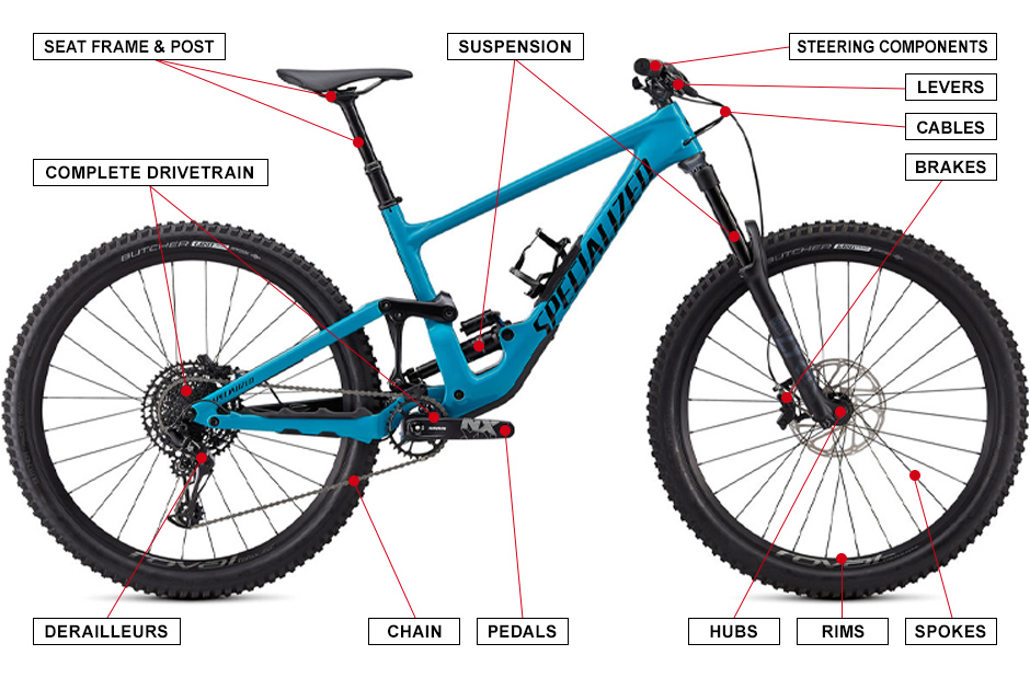 Graphic Showing Parts of Bike Covered