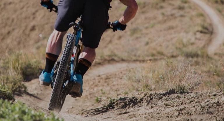 Mountain biker trailing riding.