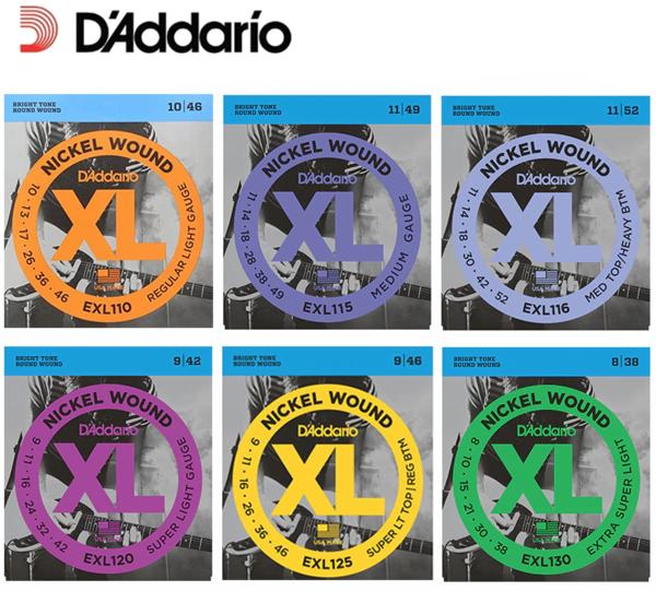 D'Addario XL Nickel Wound Guitar & Bass Guitar String Sets