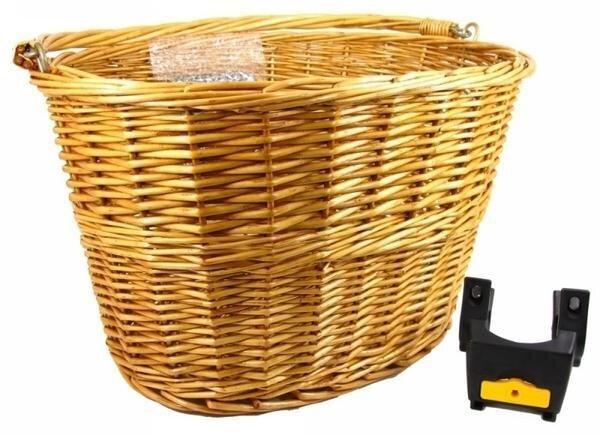 Cyclist Choice Lotus BST-03R Wicker Basket with Handlebar Mount Bracket