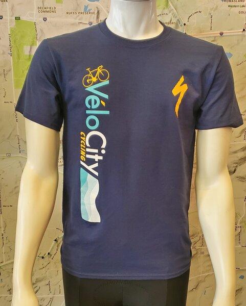 VeloCity Cycling VeloCity Waves Blue Short-Sleeved Shirts