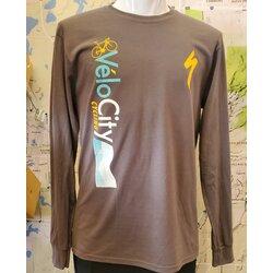 VeloCity Cycling VeloCity Waves Gray Long-Sleeved Shirt