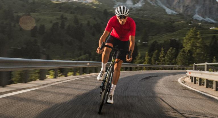Man riding road bike