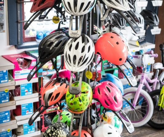 Image of bicycle helmets