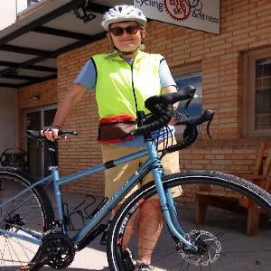 Woman with a mountain bike.