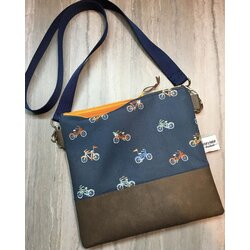 Story Maker Handmade Cross Body Bag - Navy Bicycle Print / Brown Faux Leather