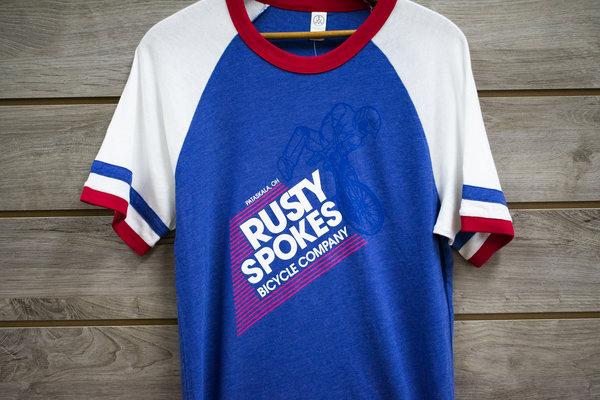 Rusty Spokes Unisex RS Bike Co Vintage Tee RD/WHT/BLUE