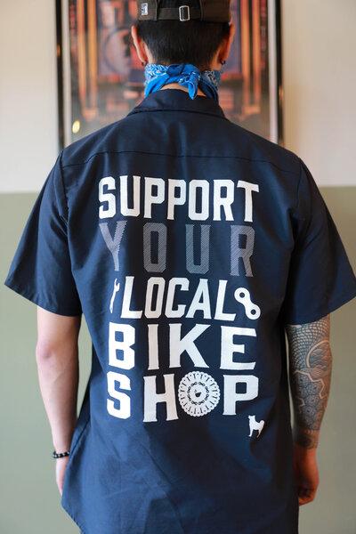 "Mello Velo ""Support Your LBS"" Mechanic Shirt"