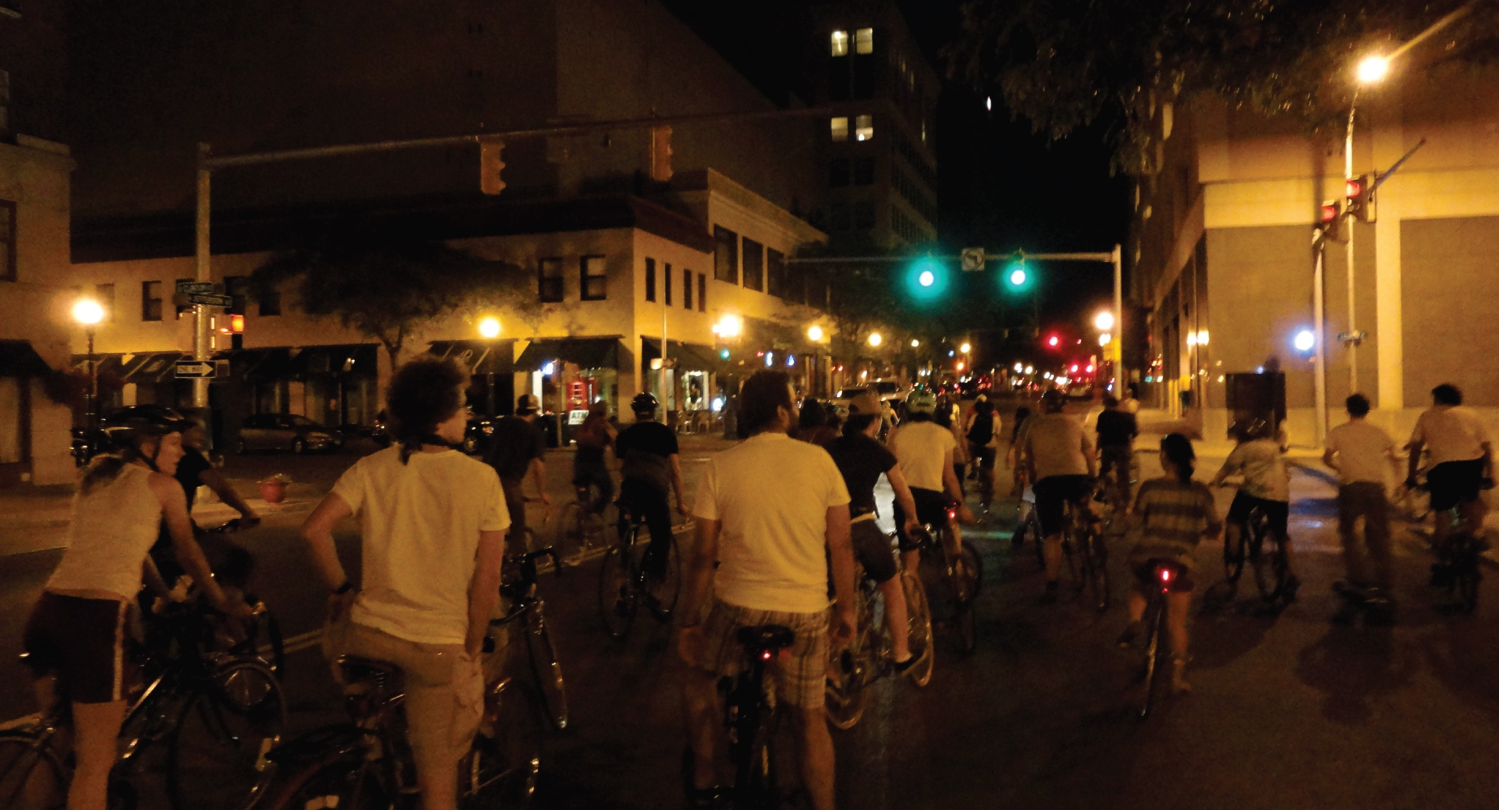 group riding downtown syracuse at night