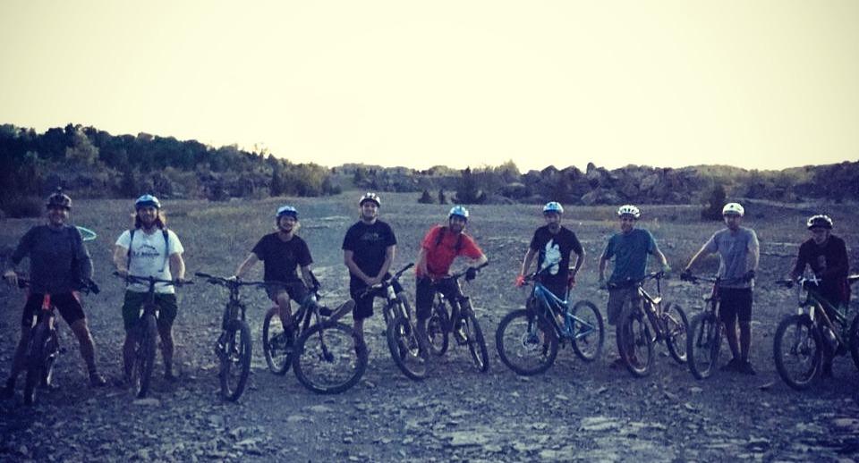 group mountain bike shot at skytop quarry
