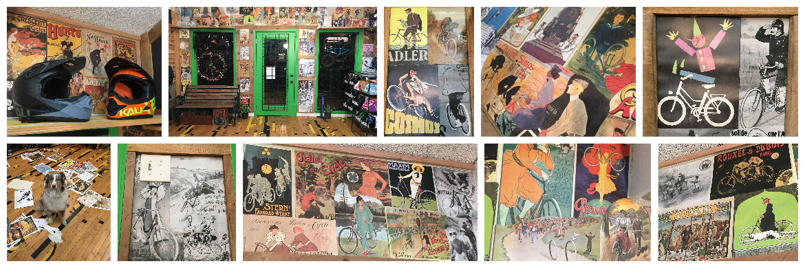 photo collage of the shop